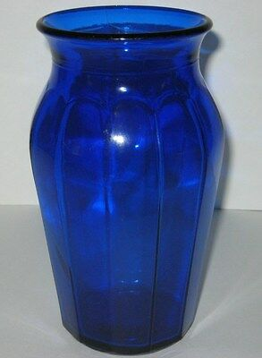 Vintage Hazel Atlas Glass Vase Cobalt Blue Marked Logo & K 851 3 1940s