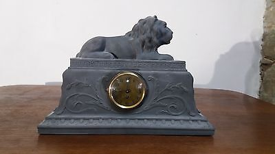 antique mantel clock, Lavinit basalt, Germany around 1920s