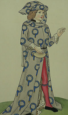 c.1470 Knight / Order Of The Garter Henry Shaw 1858 Hand Coloured Print