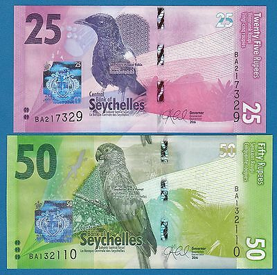 Seychelles New 2016 Set of 2 notes 25 & 50 Rupees UNC Low Shipping! Combine FREE