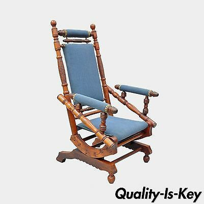 Antique Eastlake Victorian Turned Walnut Blue Platform Rocking Chair Rocker B