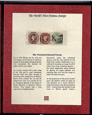 GB QV 1847 Embossed Complete Set of 3 SG54 SG57, SG58 with Certificate