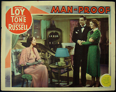 Myrna Loy Rosalind Russell Franchot Tone Man-Proof 1938 Large Lobby Card