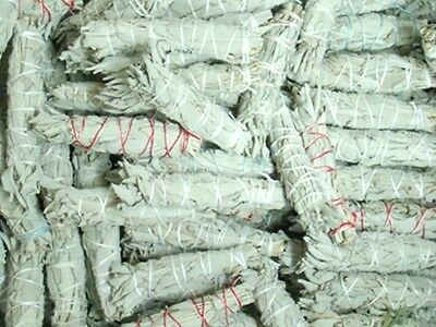 "Lot of 6 white Sage Smudge 4 1/2 to 5"" Stick Negativity Removal House Cleansing"