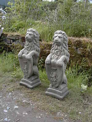 pair large heraldic lions antique finish  (statue garden stone ornament  lion