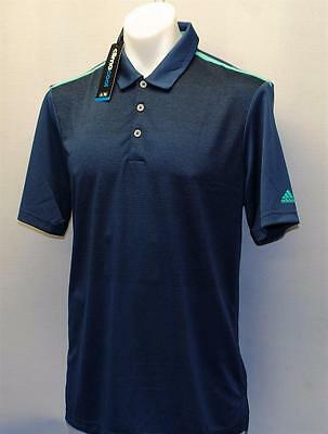 New Mens adidas climacool ombre stripe polyester golf shirt Medium Mineral Blue