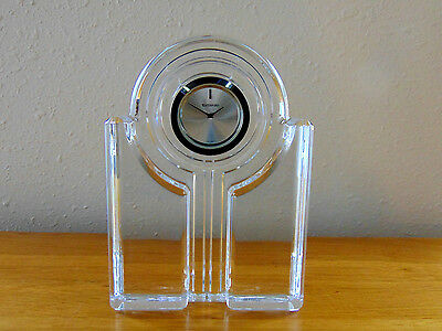 WATERFORD Crystal Art Deco Style Table Shelf Clock