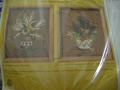 Creative Circle Cattails & Daisies Crewel Embroidery Kit #0541-2 Designs Of 8x10