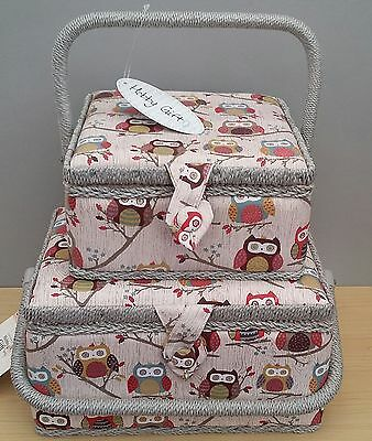 BNWT-Hoot-Owl Design-Fabric Covered Sewing Boxes by Hobby Gift-Small-Medium