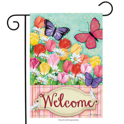 """Butterflies and Tulips Spring Garden Flag Welcome Floral Butterfly 12.5"""" x 18"""""""