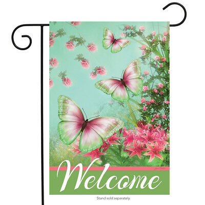"""Morning Butterflies Spring Garden Flag Welcome Floral 12.5"""" x 18"""" Briarwood Lane"""