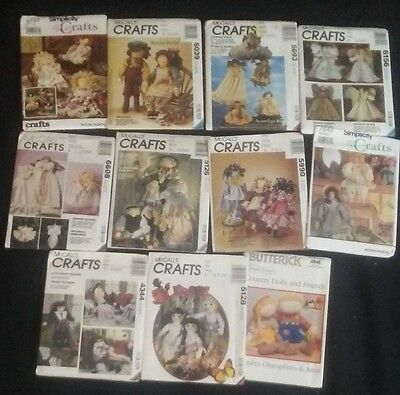 Lot of 11 Vintage Sewing Patterns Crafts Dolls Simplicity Butterick