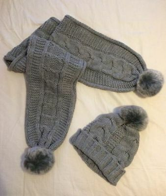 Girls 2 pc Chunky Knit Scarf and Hat set 4-6yrs
