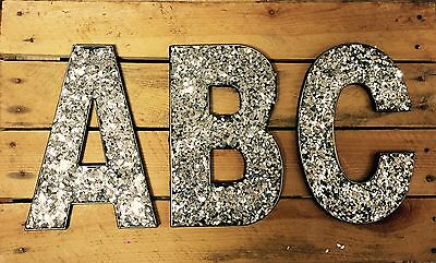 20cm A-Z Alphabet SILVER Glitter Hanging Letters Wall Decorations Name Gifts