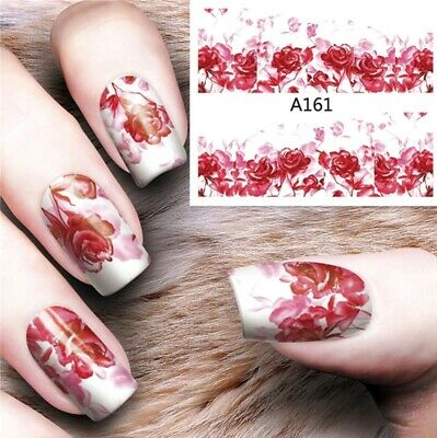 Nail Art Decals Transfers Stickers Red Flowers (A-161)