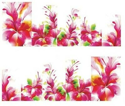 Nail Art Decals Transfers Stickers Pink Flowers (A-168)