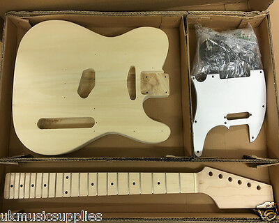 Coban DIY Kit Electric TL190 Basswood body, maple neck, Maple frets White Parts