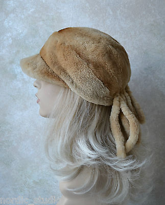 GENUINE RUSSIAN SHEARED MINK FUR HAT, CAP / NEWSBOY STYLE, Small, Honey Blonde