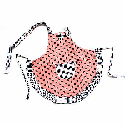 Kid Child Cotton Apron Princess Orange Black Dot Bow Frill Adjustable