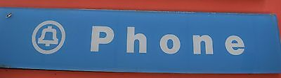 Vintage Original Glass Telephone Booth Sign Inserts: Blue & White Text