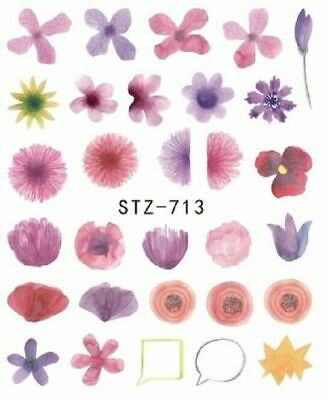 Nail Art Decals Transfers Stickers Blue Flowers (A-278)