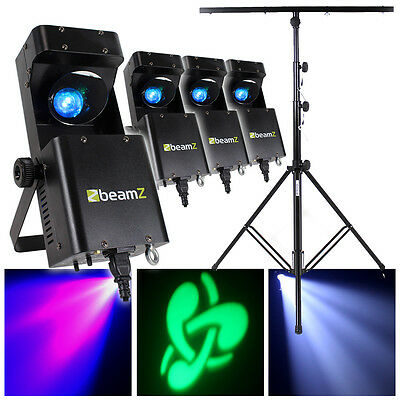 4x Beamz LED GOBO Effect RGBW Disco Lights + Party Lighting Stand