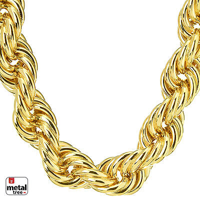 """Hip Hop Men's Rapper 14K Gold Plated Hollow Chunky Rope Chain Necklace 14 mm 30"""""""