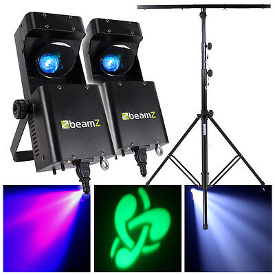 2x Beamz RGBW LED Mobile DJ Disco Party Scanner GOBO Lights + Lighting Stand