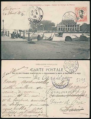 FRANCE INDOCHINA 1908 PPC SAIGON CHOLON HARBOUR PAQUEBOT POSTMARK...ANNAMITE 10c