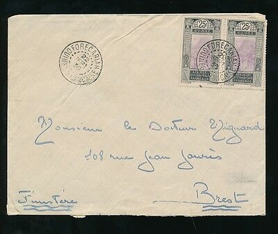 FRENCH GUINEA 1936 FORECARIAH on PAIR of AOF 25c PICTORIALS