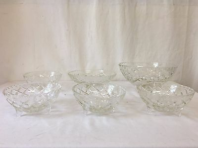Depression Glass Bowls on legs set of 6 - 1950s