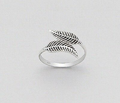 925 Solid Sterling Silver Toe Ring Band - Leaf