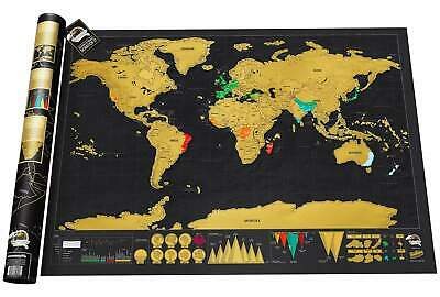 World Original Scratch Map Deluxe Large or Travel Editions
