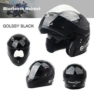 FDC Bluetooth Integrated Modular Flip Up Dual Visor Full Face Motorcycle Helmet