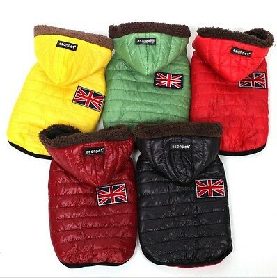 Winter Pet Dog Cat Puppy Warm Coat Jacket Costume Apparel For Small Dogs W/ Hat