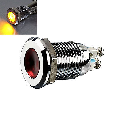 12mm DC 12V Metal yellow Indicator Light Signal Lamp Thread Mounted