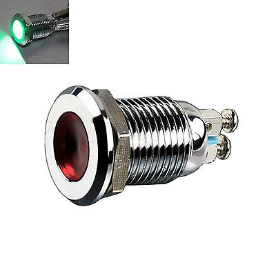 12mm DC 12V Metal Green Indicator Light Signal Lamp Thread Mounted