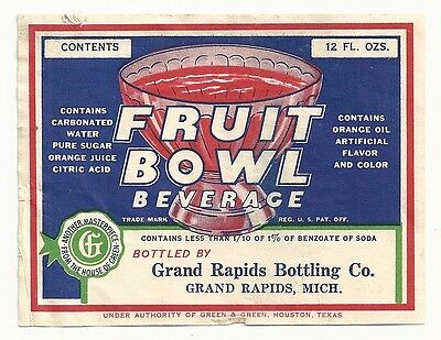 1930's Fruit Bowl Beverage Label - Grand Rapids, MI