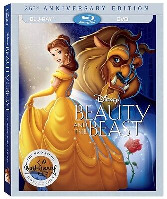 Beauty and the Beast (Blu-ray + DVD, 2016, 25th Anniversary Edition) FREE Ship!