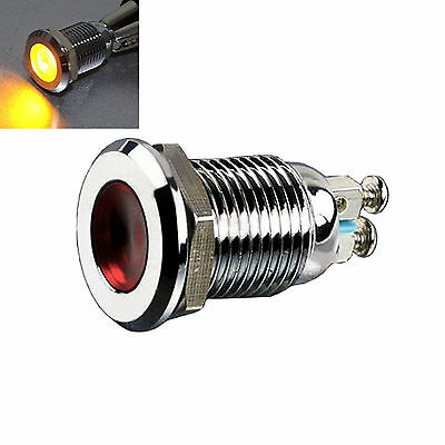 12mm AC 220V Metal yellow Indicator Light Signal Lamp Thread Mounted