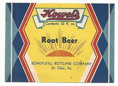 1930's Howel's Root Beer Label - St. Clair, PA