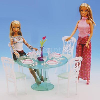 Delicate Dollhouse Furniture Dining Table Set for Barbie Doll Kitchen Access