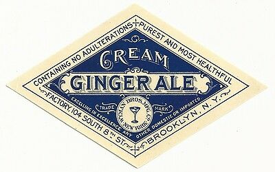 1890's Cream Ginger Ale Label - Brooklyn, NY