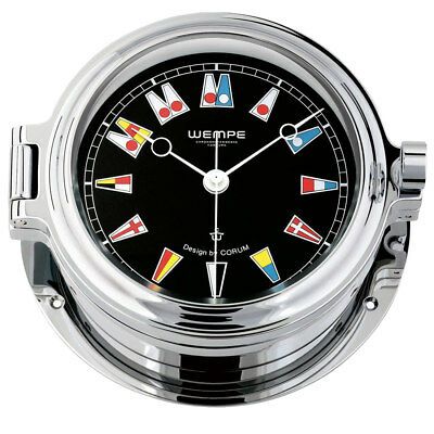 Wempe Chronometer Yachtuhr Bullaugen Regatta Chrom Ø 140mm  Flaggen Ziffernblatt