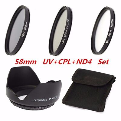 58mm UV CPL ND4 Circular Polarizing Filter Kit & Lens Hood For Canon With Bag