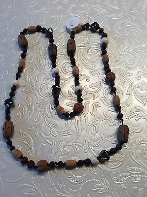 Wooden And Glass Beaded Necklace