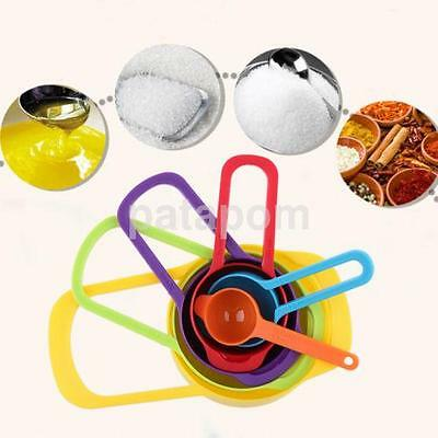 6PC Measuring Cup Spoon Set Built Nested Colorful Baking Cooking Kitchen Tool AU