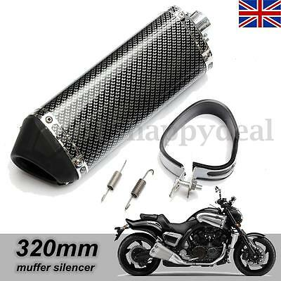 38mm Universal Motorcycle Carbon Fiber Exhaust Muffler w/ Removable Silencer -UK