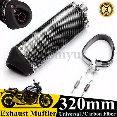38mm Universal Motorcycle Exhaust Muffler w/ Removable Silencer Carbon Fiber -UK