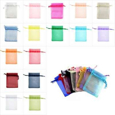 25/50/100/200pcs Organza gift Bags Wedding Candy Favour Jewelry Ring Pouch 20cm